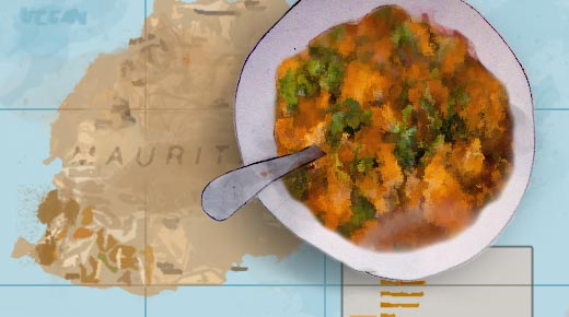 Bowl of food on a Mauritian map